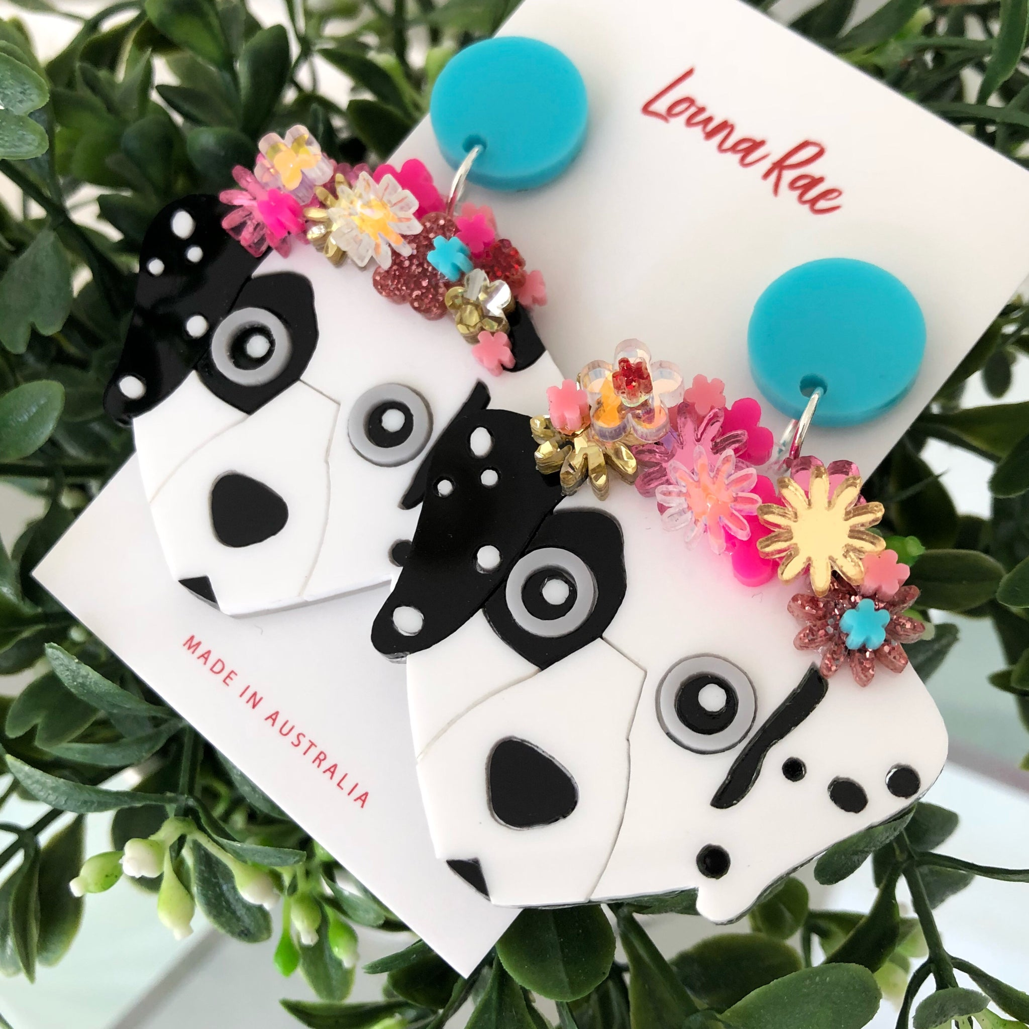 Dalmatian Dangle Earrings