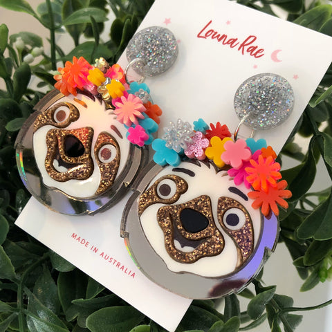 Sloth Dangle Earrings - Flower Crown A