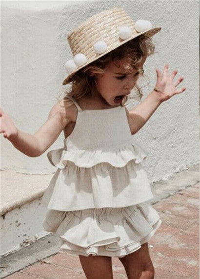 Ruffled Ensemble - White