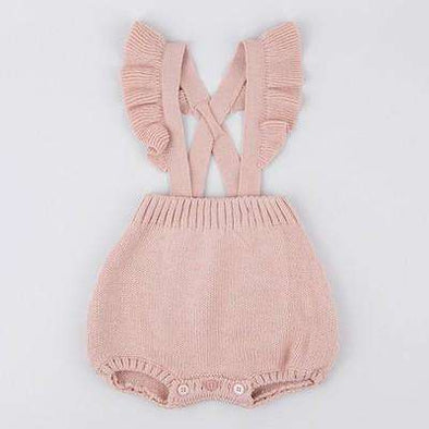 Ruffled Knitted Romper - Pink