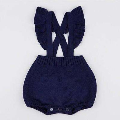 Ruffled Knitted Romper - Royal Blue