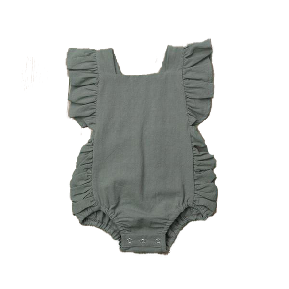 Ruffled Romper - Green | NEW