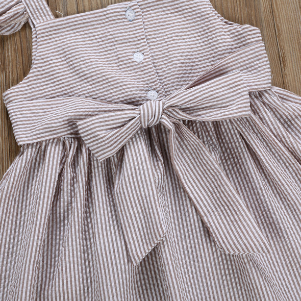 Thinly Striped Dress - Greige | NEW