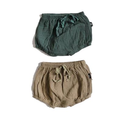Cotton Gauze Bloomers Set - Bottle Green + Lichen