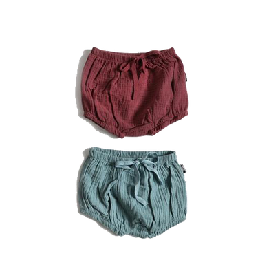 Cotton Gauze Bloomers Set - Seafoam + Burgundy