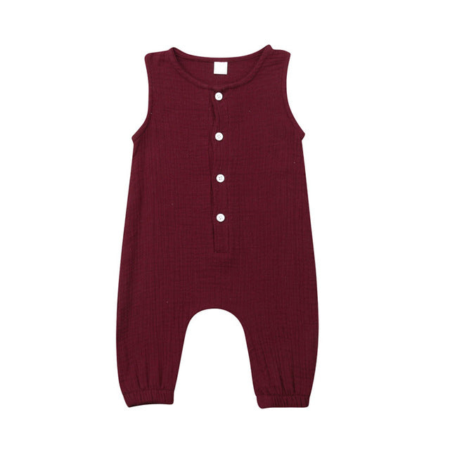 Cotton Gauze Jumpsuit  - Burgundy