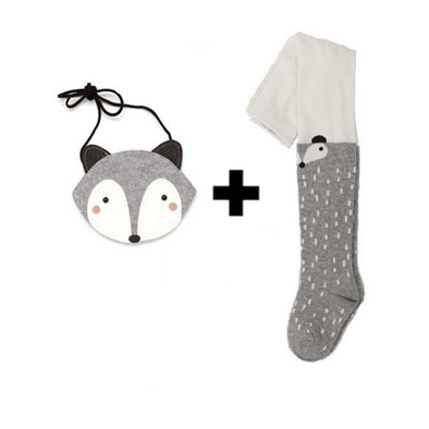Raccoon / Fox Stockings + Bag - Grey