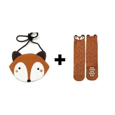 Racoon / Fox High Socks + Bag - Brown