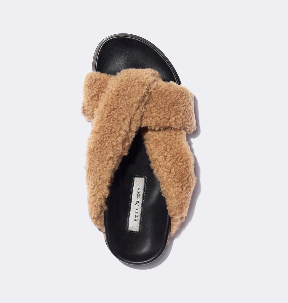 Folded Slide in Taupe Shearling