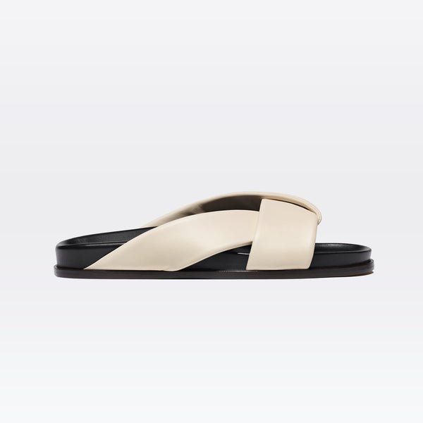Folded Slide in Ivory Nappa