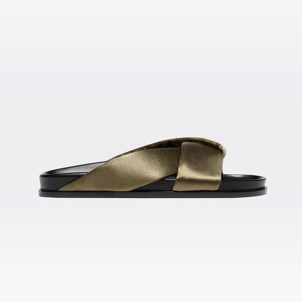 Folded Slide in Khaki Satin