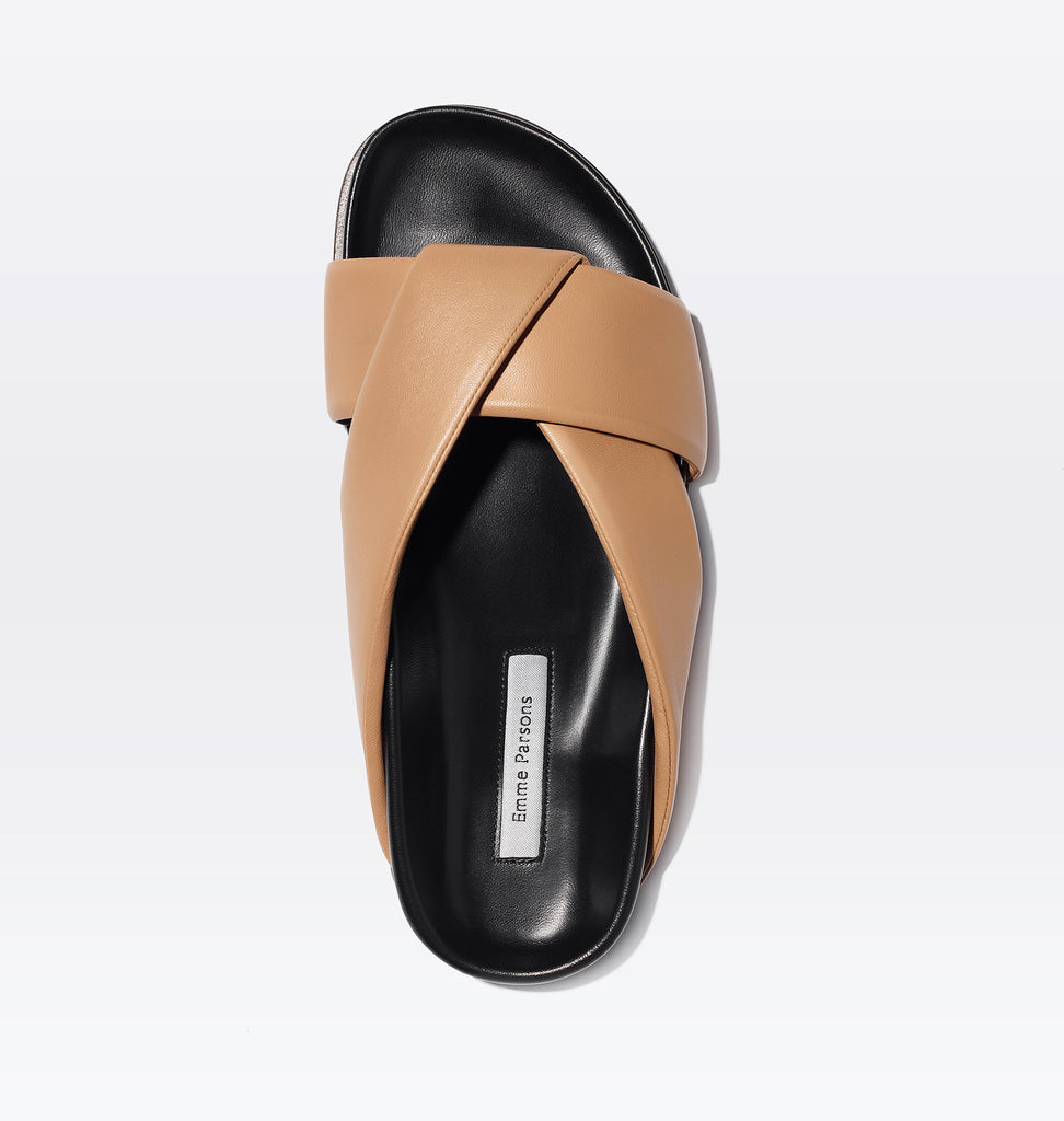 Folded Slide in Tan Nappa