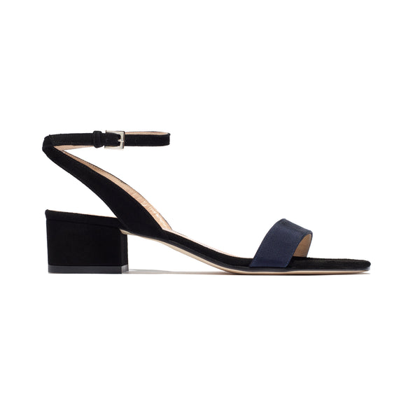 Martina Mid Heel in Black and Navy