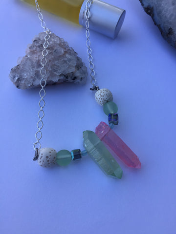 Beach glass lava stone and crystal diffuser necklace