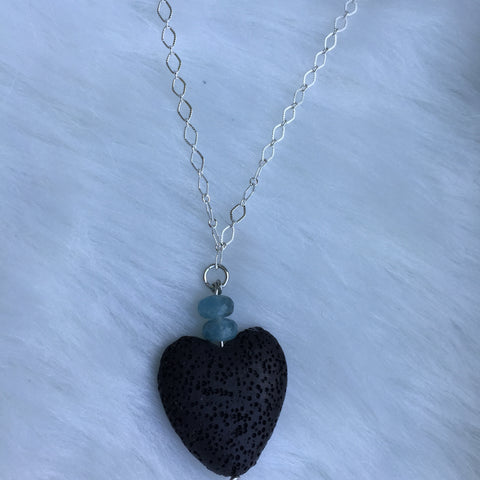 Aquamarine and lava heart shaped diffuser necklace essential oil aromatherapy pendant