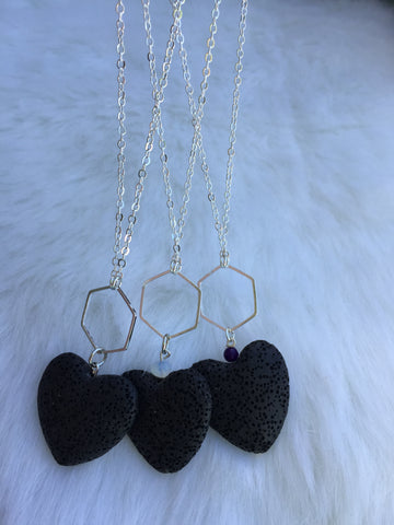 Hexagon and Heart shaped lava stone diffuser necklace