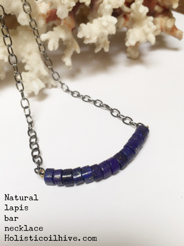 Lapis lazuli bar necklace natural gemstone minimalist style