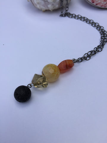 Carnelian and  lemon quartz diffuser necklace aromatherapy essential oil jewelry