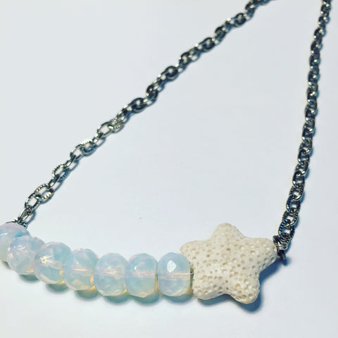 Opalite shooting star diffuser necklace lava stone bar silver accent aromatherapy jewelry