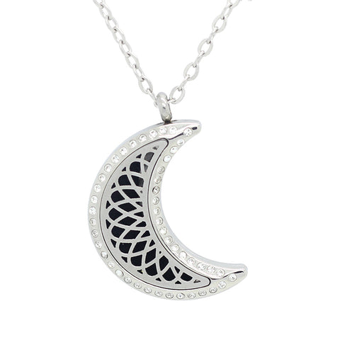 moon shape essential oil pendant necklace Diffuser Perfume crystals Locket