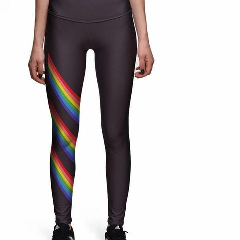 S-4xl Rainbow stripe Yoga Pant Leggings Plus Size Women's Black High Waist Leggings Fitness Lounge Comfort pants
