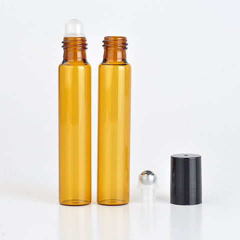 3/5/10ml Amber Glass Brown Roll-on Bottles Portable Essential Oil Jar Bottle With Glass Roller Ball Glass Perfume Bottle