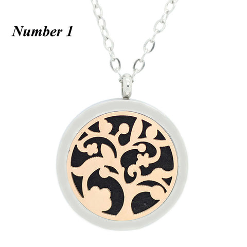 30mm silver perfume locket necklace with rose gold plate 316L stainless steel magnetic aromatherapy diffuser locket jewelry