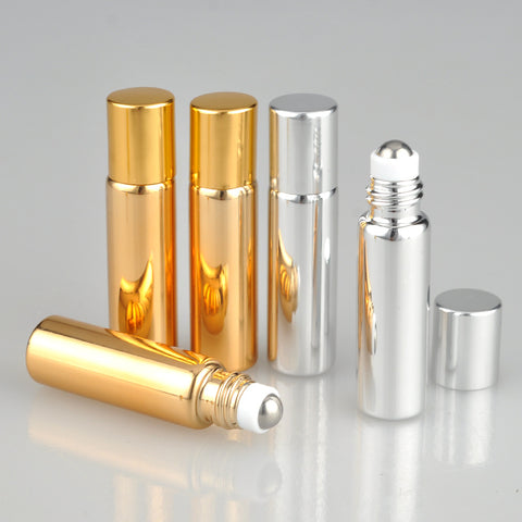 5pc/lot 5ml Glass +Metal Essential Oil Roller Bottles with Glass Roller Balls Aromatherapy Perfumes Lip Glass Roll on Bottle -30