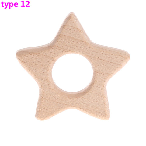 Handmade Natural Wooden Animal Shape Baby Kids Teether Teething Toy Shower toy