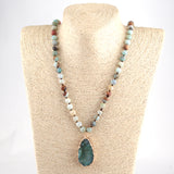 Bohemian Tribal necklace long Knotted Amazonite Natural Druzy Drop Pendant Stone Necklace