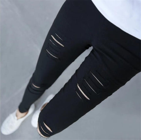 Super Stretch Fitness Legging Sport Fitness ripped weathered torn style