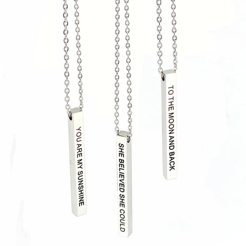 Hand stamped mantra necklace Bar Letter Pendants Positive quotes Stainless steel inspirational