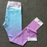 Pastel Ombre Yoga Leggings Sport  Pants Womens Fitness Gym Clothing Sportswear