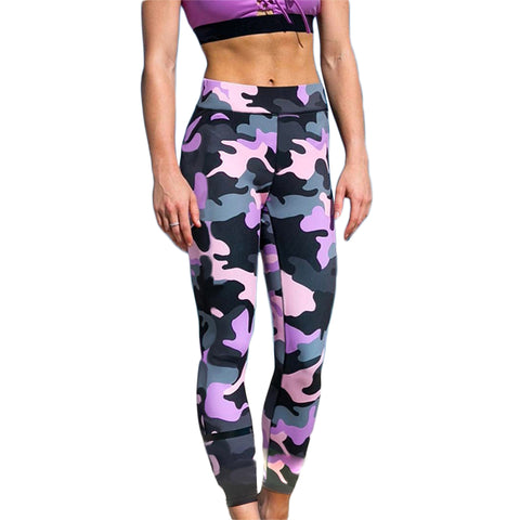 Purple and Grey  Print Camouflage Leggings Women High waist breathable Pants polyester Soft Fitness comfort wear