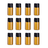 12 PC 3ml Mini Amber Glass Vial Bottles for Essential oils Perfume fragrance