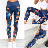 Blue/Navy Bird Of paradise Tropical Pattern  Women High Waist Sports Gym Yoga Running Fitness Leggings