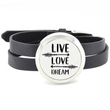 Live Love Dream Stainless Steel Diffuser Bracelet Silver Twist Open New Aromatherapy Locket Bracelet with PU leather band