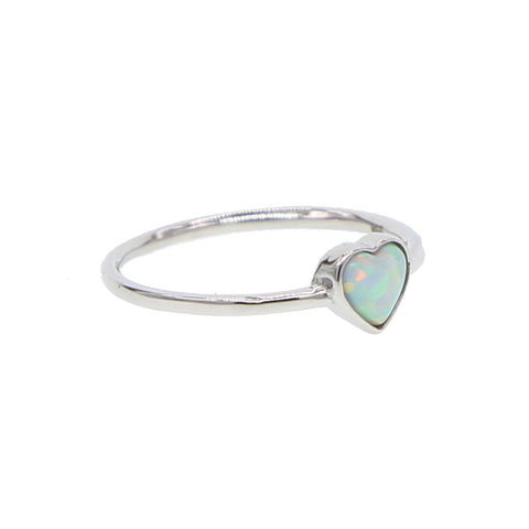 Opal heart ring si!ver tone band