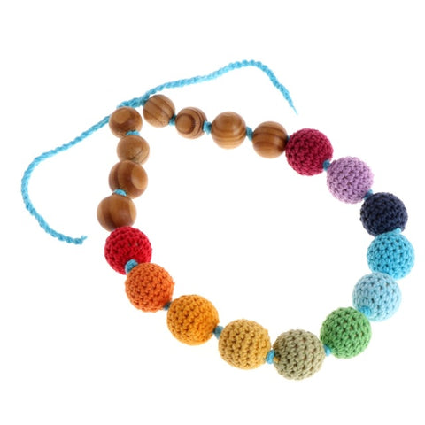 Wood Wooden Baby Teether Bracelet Necklace Crochet Beads Teething Ring Play Chewing Toy