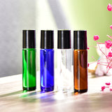 10ml 4pcs Glass Aromatherapy Essential Oil Roller Roll on Refillable Mini Travel Refillable Makeup Tools 4 color/lot