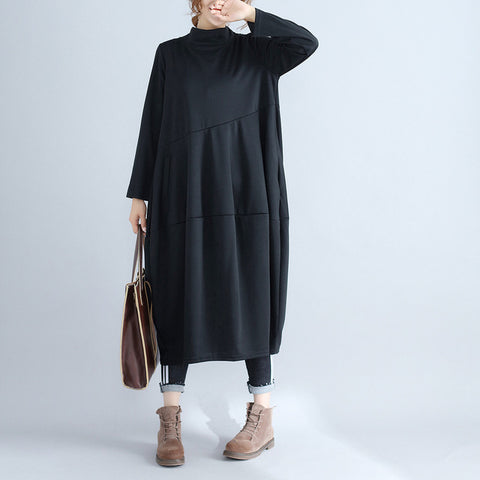 Women Turtleneck Comfort tunic Dress Autumn Casual Long Sleeve Pullover Loose Robe Cotton Women Soft Dresses