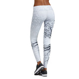 Yoga workout leggings White or Black Mother nature Tree Pattern Sporting Leggings Print Pants High Elastic Waist Push Up Fitness leggins