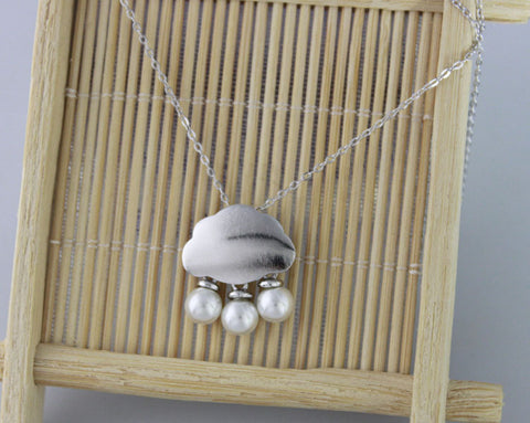 Rain cloud 925 Sterling Silver necklace dainty pendant
