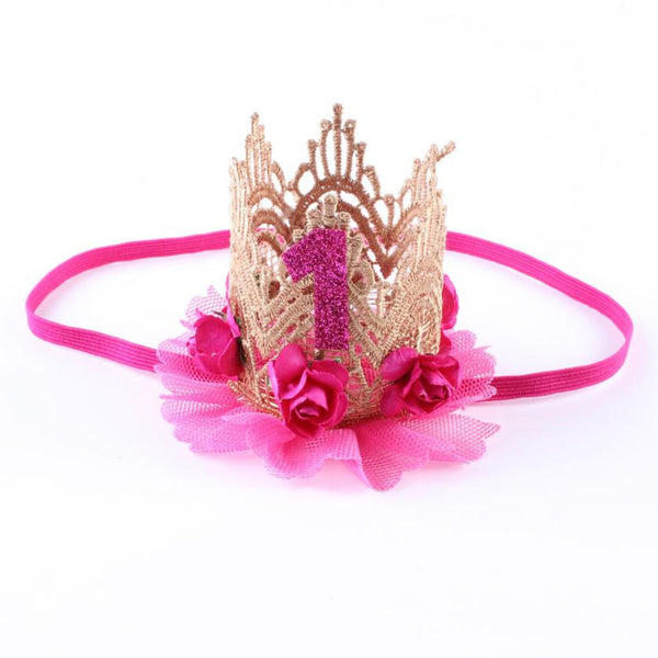 Hot Pink Princess Gold Glitter 1 Year Girls Birthday Hat