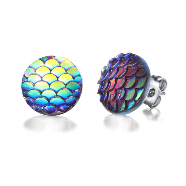 Multicolor Holographic Round Mermaid Stud Earrings