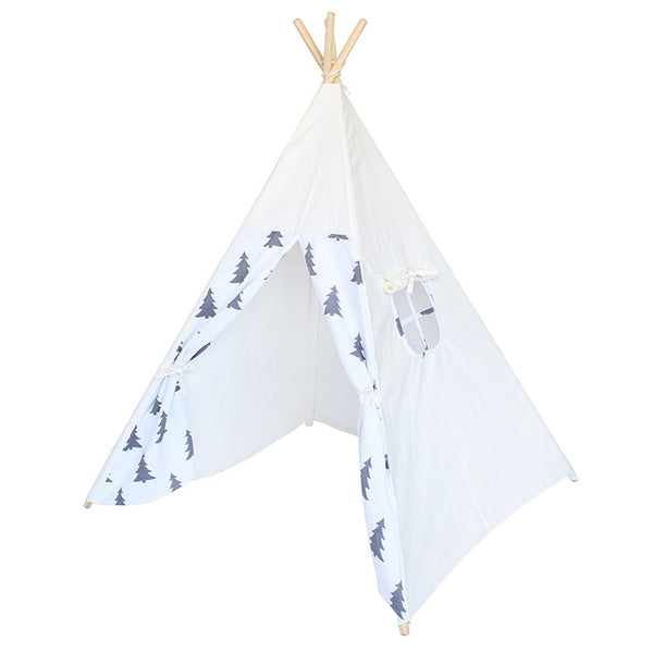 Black Tree Printed Cotton Canvas Childrens Teepee