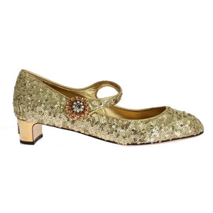 DOLCE & GABBANA Gold Sequinned Crystal Mary Janes Shoes | Dolce & Gabbana