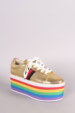 Rainbow Stripe Lace Up Flatform Sneaker | Collective Fab