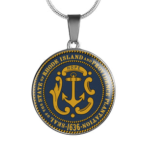 Rhode Island & Providence Plantation Pendant Necklace Set | Handmade in USA By American Teen | Unique Gift And Souvenir