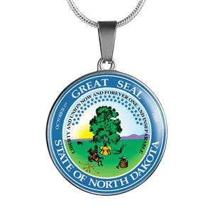 North Dakota Pendant Necklace Set | Handmade in USA By American Teen | Unique Gift And Souvenir